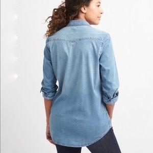 64d08d1343bf2 GAP Tops   Maternity Tencel Denim Western Shirt Size L   Poshmark